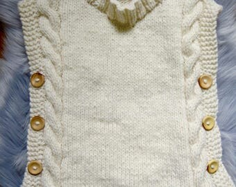 Gorgeous Hand Knitted Tunic/Vest in Cream Pure Wool, fits 2-3 years old