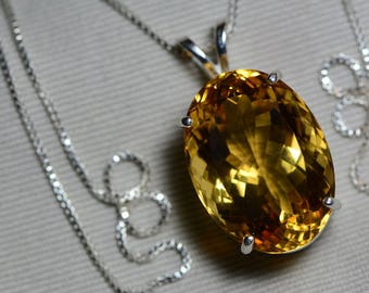 Citrine Necklace, Certified 23.87 Carat Citrine Pendant Appraised 1,200.00 Sterling Silver, Oval, Real Genuine Natural, November Birthstone