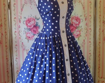 Cute Vintage 1950s Polka Dot Print Cotton Sun Dress w/ Full Skirt XL Extra Large 34 35 Waist