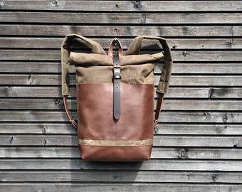 Waxed canvas backpack  / rucksack with leather outside pocket and bottom, unisex