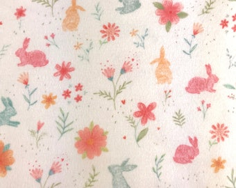 Rabbits and flowers, Baby Bunnies Flannel 100% cotton Premium Quality designer Snuggle flannel Fabric for general sewing projects.