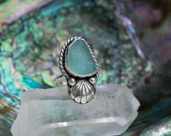 Sea Potion Ring | Aqua Blue Sea Glass Ring | Sterling Silver Ring Size 8 | Mermaid Jewelry | Seashell Ring | Mermaid Ring | Beach Glass Ring