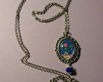 Silver long chain necklace with pendant enchanted rose
