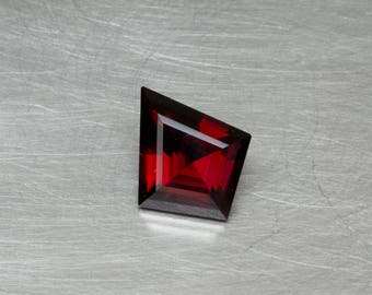 Garnet -- Loose Natural Untreated Dark Blood Red Freeform Step Cut Kite Shape Precision Hand Cut Gemstone
