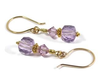 Gold Filled Amethyst Earrings, Semi Precious Amethyst Gemstone Earrings, Swarovski Crystal, Dangle Earrings