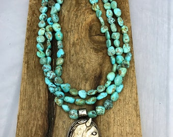 Mexican Turquoise or Sonoran Turquoise Triple Strand Necklace with Carved Tibetan Horse Pendant