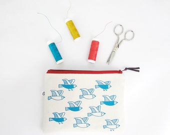 Cosmetic pouch, birds print, makeup bag, travel sewing kit, make-up pouch, printed by hand by Olula, small zipper pouch, small jewelry bag,
