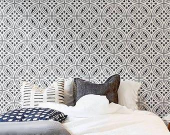 Moroccan Wall STENCIL -  Tile Pattern no. 8 - REUSABLE, Easy Wall Decor, DIY Home