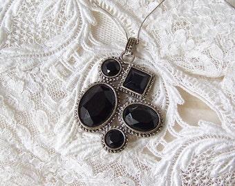 Vintage Pendant Black Glass Silver Tone Pin 1960s