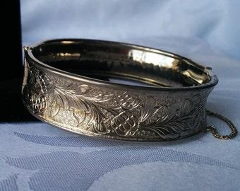 Vintage Embossed Bracelet Silver Tone, Floral Bracelet, Silver Bracelet, Embossed Silver Tone Bracelet, Cuff Bracelet