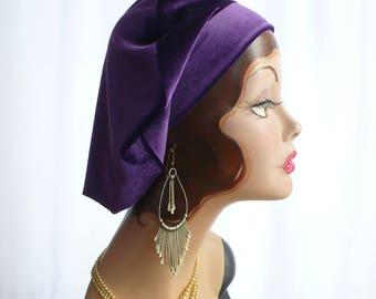 Oversize Royal Purple Velvet Beret,