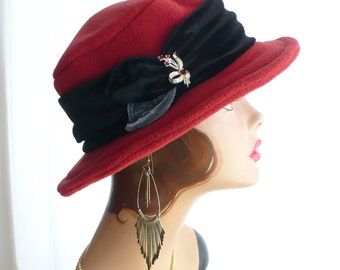 Paprika Red Brim Hat/Fedora with Velvet Band