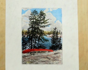 Red canoe hand-coloured etching