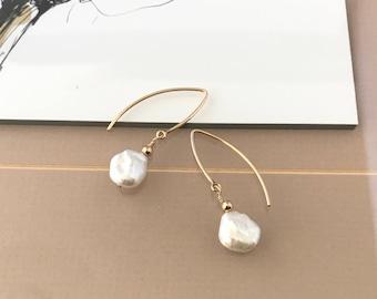 Gold Keshi Pearl Earrings