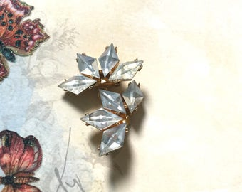 1950's Clip On Vintage Geometric Crystal Glass Earrings Vintage Jewelry Holiday Accessories Gift for Her Hollywood Regency OC