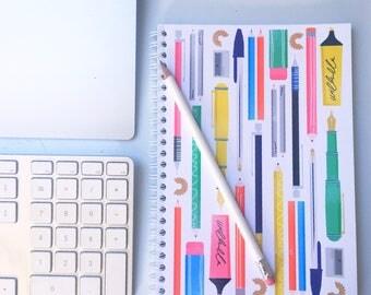 A5 Sketchbook Pens and Pencils Illustration Pattern Spiral Bound journal
