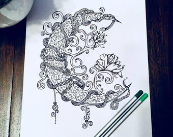 Adult Coloring Page Crescent Moon - Serpent Design - Original Snake Art - Nature Floral Illustration