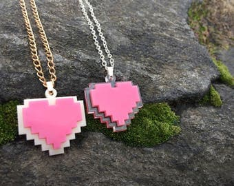8-Bit Pink Heart Container Necklace