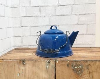 SALE - Vintage Enamel Kettle in blue speckled Wire Handle