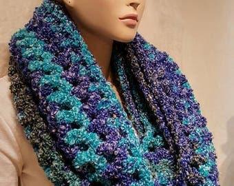 Crochet Infinity Scarf,  Teal Green Crochet Scarf, Fall Crochet Infinity Scarf, Blue Crochet Scarf, Chunky Crochet Infinity Scarf,  Scarf