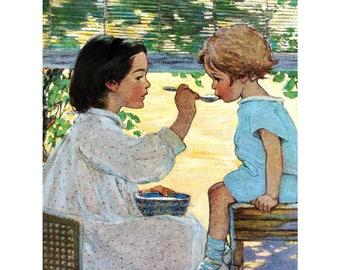 Sisters Greeting Card - Big Sister Feeds Little Sister - Repro Jessie Wilcox Smith