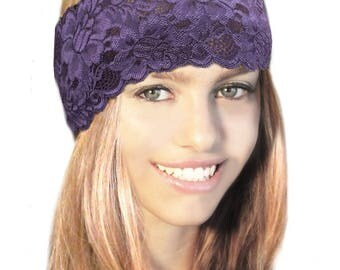 Aubergine Purple Lace Headband Beige Tan Stretch Boho Chic Hair Bands Wedding Vintage Bridesmaid Aubergine Black Handmade ShariRose