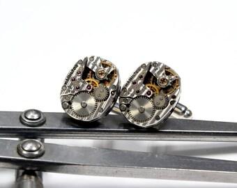 FANCY Wedding Cuff Links STRIPED Hamilton 757 MENS Steampunk Vintage Watch Cuff Links Steampunk Wedding Jewelry by Victorian Curiosities