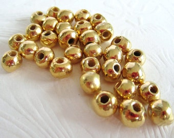 Mykonos Gold Nuggets-Precious Metal on Ceramic-20 or 40 Beads