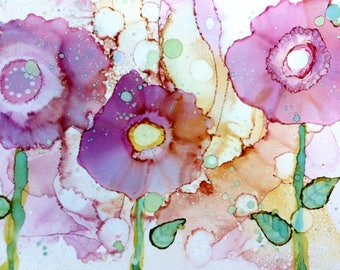 Chic Print, Alcohol Ink Art Giclee Print, Purple Art Work, Feminine Art Pastel Floral Painting, Whimsical Wall Decor, Home Decor Art Print,