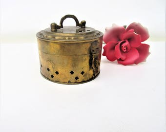 Vintage Brass Box | Brass Cricket Cage | Metal Box with Lid | Ring Box | Betal Nut Box | Potpourri Holder