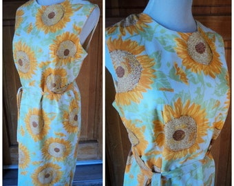 Vintage 60s Sunflower Shift Dress Sleeveless Summer 1960s Day Dress Fritzi Of California 38 B