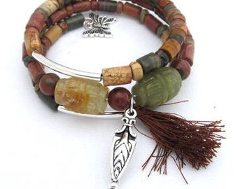Picasso Jasper and Jade Memory Wire Semi Precious Stones, Tassel  with charms Earth  Colors Medium Wrist