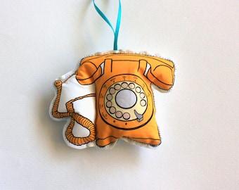 Yellow telephone Christmas Ornament: Vintage telephone