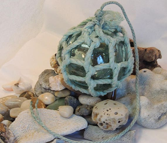 "Vintage 13.5"" In Circumference Japanese GLASS FISHING FLOAT Full Net, Bubbles & Striations (#38)"