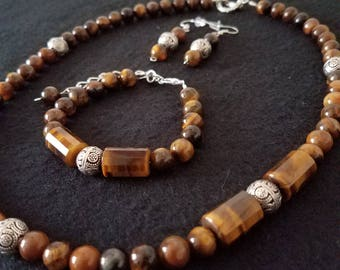 Brown tigers eye and tibetan silver necklace set, brown necklace set, stone necklace set