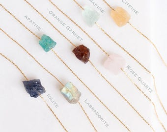 Raw Stone Necklace - Raw Crystal Necklace - Rough Cut Gemstone Necklace - Layered Necklaces - Gold Necklace - Layering Jewelry