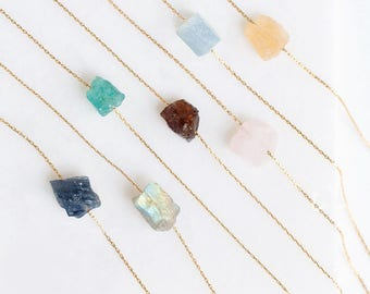 Raw Crystal Necklace, Rough Stone Necklace, 14k Gold Filled, Rose Quartz Necklace, Layering Necklace, Dainty Stone Pendant, Raw Stone, V day