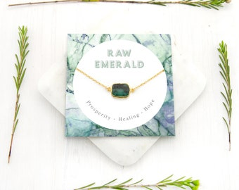 Green Emerald Stone Necklace, Emerald Necklace Gold, May Birthstone Gift, Dainty Chain, Simple Green Stone Pendant, Gift Ideas for Her