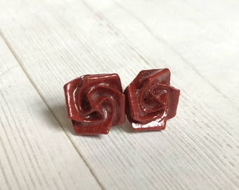 Origami Rose Earrings // Deep Red Shimmer