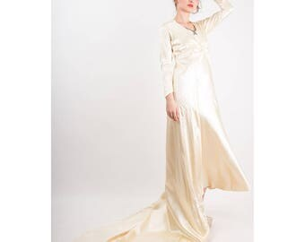 1930s bias cut silk wedding gown ensemble / Vintage ivory candlelight satin 2 piece dress set / XS S