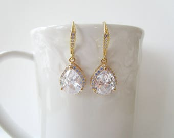 Gold Bridal Earrings, Cubic Zirconia Earings, Teardrop Earrings, Bridal Earrings, Gold Bridal Jewelry, Wedding Jewelry, Bridesmaids Jewelry