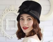Vintage 1960s Black Wool Hat with Velvet Buckle and Ribbon by Mr John Jr
