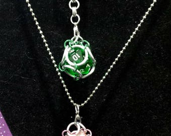 Playable D20 Dice Die Pendant Necklace or Keychain