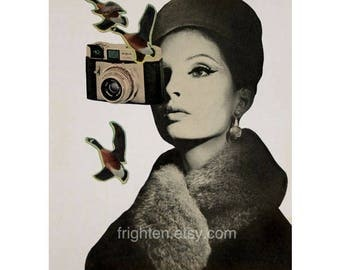 Vintage Camera Art, 8.5 x 11 inch Print, Surreal Art, Retro Decor, Paper Collage Print, Altered Portrait, Beautiful Woman