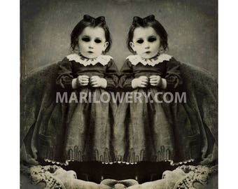 Halloween Art Print, Creepy Twins Art, Halloween Decor, Black and White, Gothic Decor, 7x7 on 8.5 x 11 Inch Paper