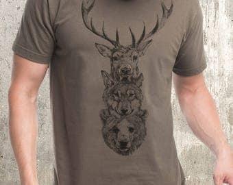 Men's Elk Wolf Bear Totem T-Shirt - Screen Printed Men's/Unisex T-Shirt