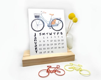 2018 Desk Calendar with Wooden Stand | Watercolor + Calligraphy Handmade Desk Calendar Bike Plants Coloring Watercolor Illustrations