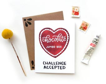 Funny Galentine Chocolate Box Challenge Valentine Card | Watercolor Heart Chocolate Box Jumbo Anti Valentines Day Challenge Accepted Card