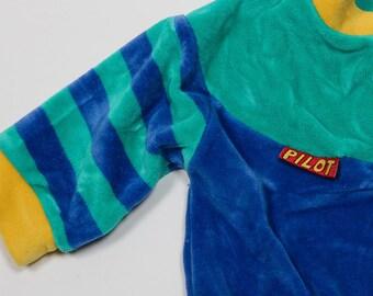 Infant 3-6 Month Toddler 1990s Vintage Kids Pilot Jacket Velvet Velour Sweatshirt 4DD
