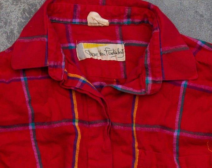 Diane Von Furstenberg Vintage Flannel 1970s Red Multicolor Plaid Flannel Shirt Size L XL | 7U
